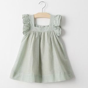 Toddler Girls' Frill Sleeve Green Fly Dress